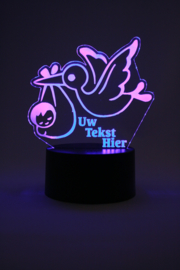 Ooievaar & baby met eigen tekst led lamp