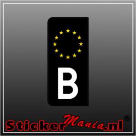 Zwarte (B) Belgische kentekenplaat sticker set