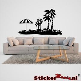 Muursticker eiland met palmbomen 2