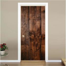 houten planken 2 donkerbruin deur sticker