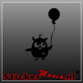 Uil met ballon sticker