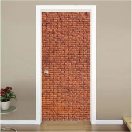 Rode bakstenen muur deur sticker