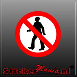 Verboden te lopen full colour sticker