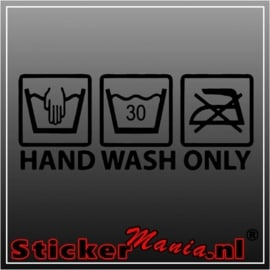 Hand wash only sticker