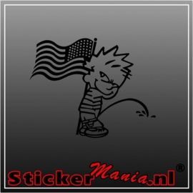 Calvin american flag sticker