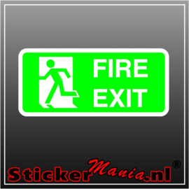 Fire exit links groen full colour sticker