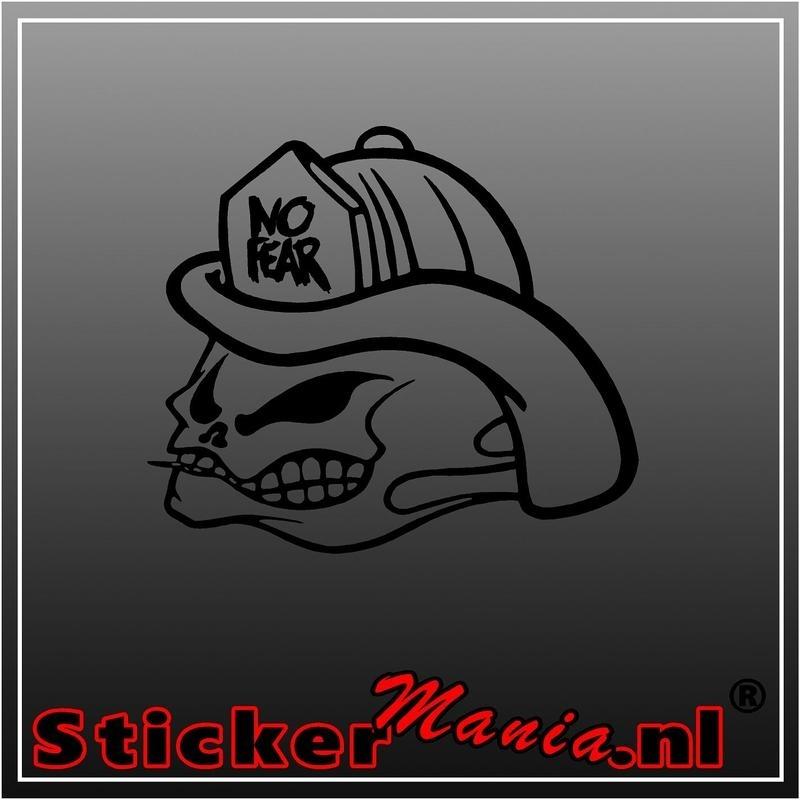 No fear fireman skull sticker