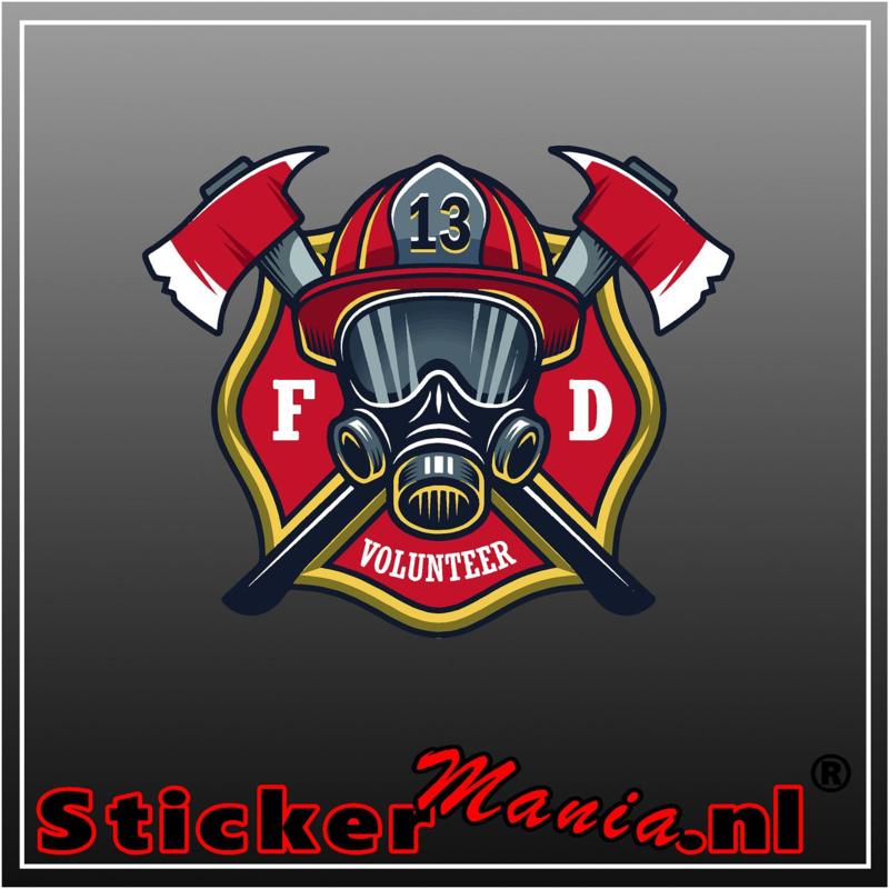 Firefighter volunteer Full Colour sticker