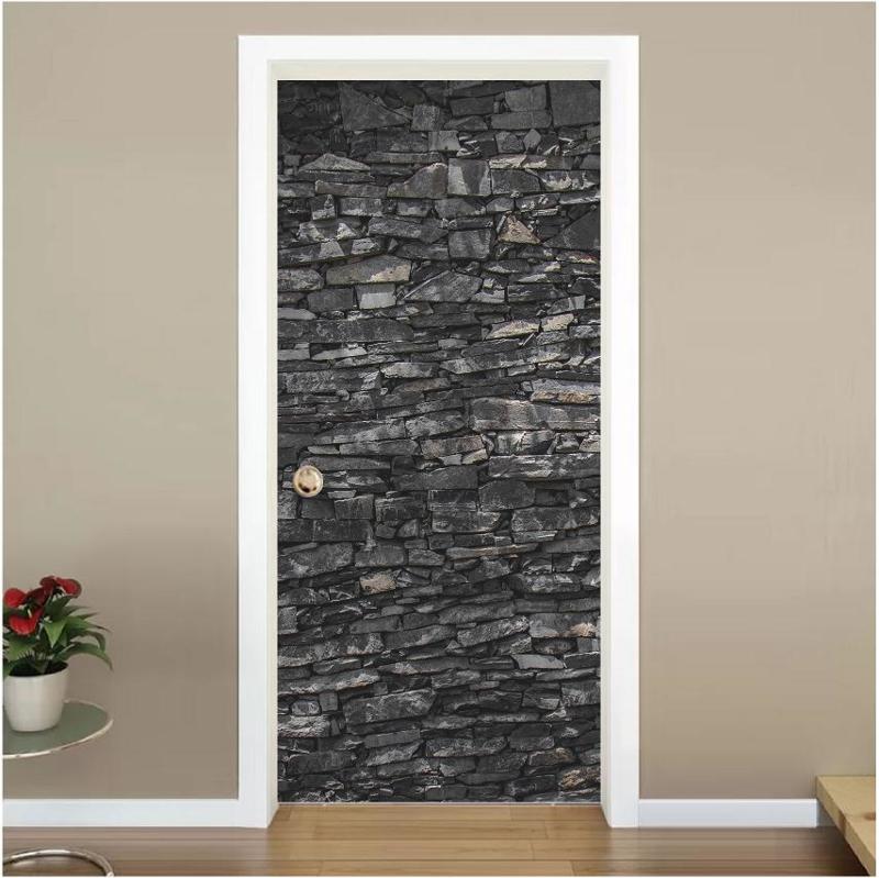 Zwart stenen deur sticker