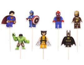 prikkers Superhelden Lego vorm (set van 30) - gemengd