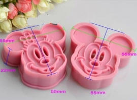Mickey en Minnie Mouse plunger cutter set (2st.) ong. 5,5cm