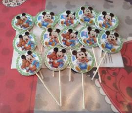 1 Topper Mickey of Minnie baby - kleur en stokje naar keuze