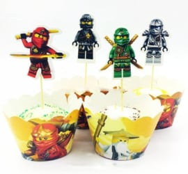 Set B Ninjago (4 toppers + 4 wrappers)