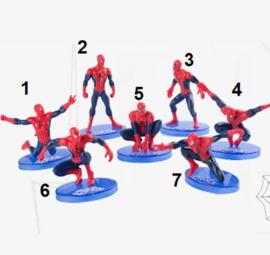 1 figuur  Spiderman B 7-11cm naar keuze - achterkant rood