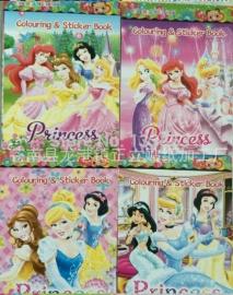 1 kleurboekje met stickers Prinsessen