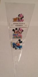 1 puntzakje groot 36,8x17,8cm met sticker baby Mickey of Minnie naar keuze