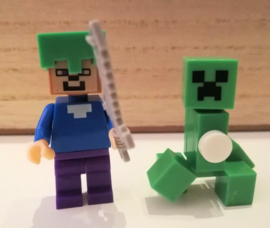 2 mini figuren Minecraft compatibel met Lego