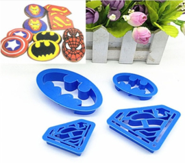 Superman en Batman plunger cutter set (4st.)