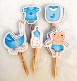 Set Geboorte A - baby blauw (5st.) - stokje naar keuze