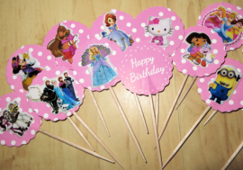 topper HAPPY BIRTHDAY met sticker  (1 stuk) - thema en stokje naar keuze