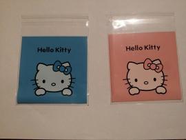 10 mini zakjes Kitty 10x10cm roze of blauw