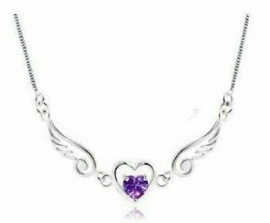sterling zIlver 925 ketting met hart en engel vleugels