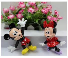 Set (2st.) Mickey en Minnie Mouse 7cm