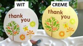 1 ronde sticker THANK YOU 3,3cm - kleur naar keuze