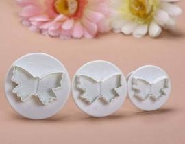 Uitstekers Vlinders (set 3 stuks 2,5 tot 4cm)