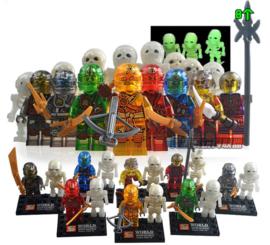 1 poppetje Ninja L spook met skelet - naar keuze
