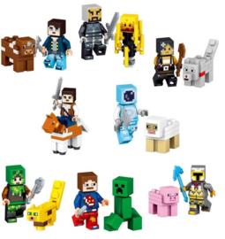 Set 8+8 figuurtjes Minecraft compatibel met Lego