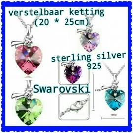 verstelbaar sterling zilver ketting met hart, kleur naar keuze