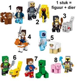 1 figuur Minecraft compatibel met Lego - naar keuze