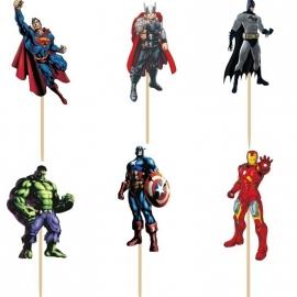 set A prikkers Superhelden (6st.) - stokje naar keuze