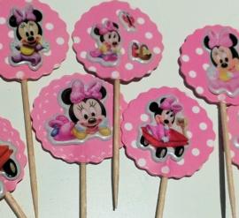 1 Topper Minnie baby roze - stokje naar keuze