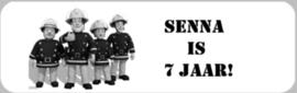 1 Label Sam de Brandweerman - maat en tekst naar keuze
