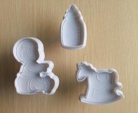 Baby geboorte plunger cutter set (3st.) 5 tot 7cm