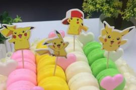 set C prikkers Pokemon Pikachu (4st.) met rand - stokje naar keuze