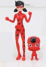 set rood (Ladybug) - 2 figuren Miraculous ong. 5 en 12 cm
