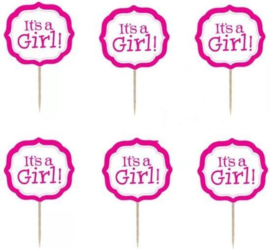 prikker It's a girl (1 stuk) - stokje naar keuze