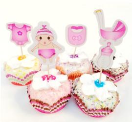 Set Geboorte A - baby roze (5st.) - stokje naar keuze