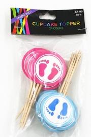 Set Geboorte C - prikker baby voetjes (1st.) - kleur en stokje naar keuze