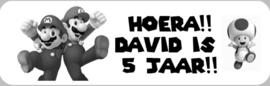 1 Label SuperMario Bros - maat en tekst naar keuze