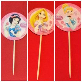 1 Topper roze Assepoester, Rapunzel of Sneeuwwitje - naar keuze