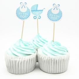 Set Geboorte B -  it's a boy (3st.) - stokje naar keuze
