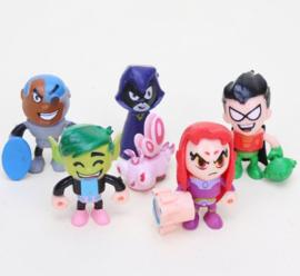 Set B 6 figuurtjes Teen Titans Go! 5cm