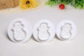 Uitsteker Kerst Sneeuwpop (set 3 stuks) 5 tot 7 cm