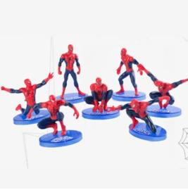 1 set B (7st.) Spiderman 7-11cm - achterkant rood