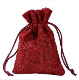 1 grote jute zakje rood 20x30cm - top kwaliteit