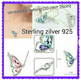 verstelbaar sterling zilver ketting met Vliender kristaal, kleur naar keuze